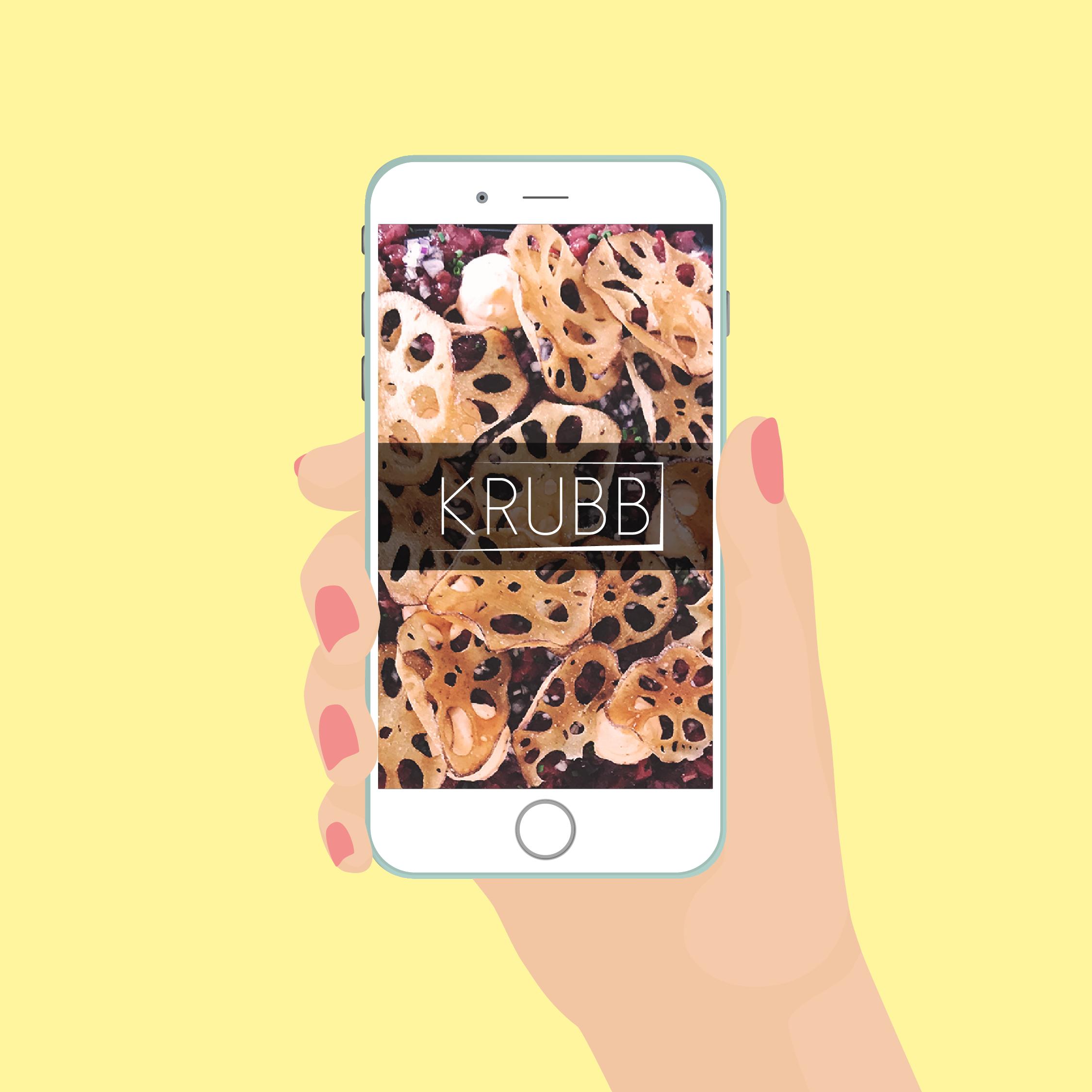 Illustration av Krubb cateringföretags hemsida i en telefon skapad av Byrån Y, en kommunikationsbyrå i Malmö.