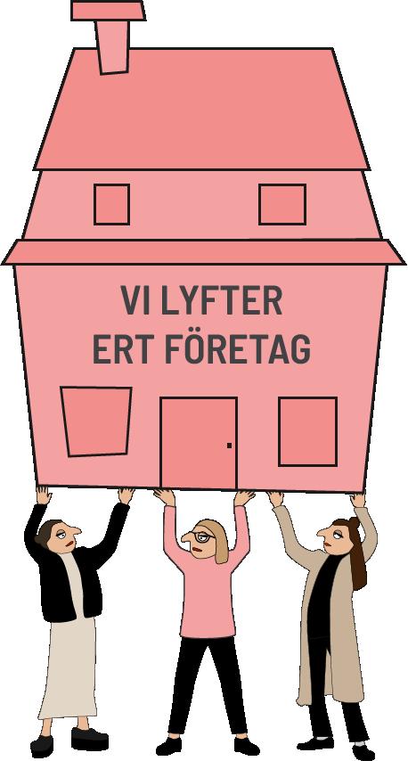 Illustration med tre figurer som bär ett hus. Det gestaltar Byrån Y, en kommunikationsbyrå i Malmö.